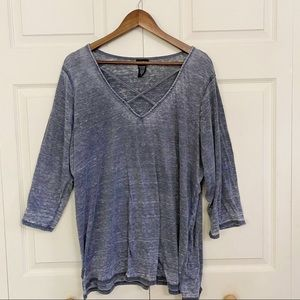 Torrid Gray Distressed Cage Neck 3/4 Sleeve Shirt